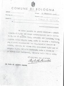 Documenti cimiteriali depositati presso la Certosa di Bologna, cortesemente ricercati e forniti dal funzionario responsabile, Sig. Capelli