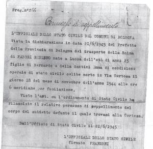 Documenti di traslazione del feretro dalla Certosa di Bologna al cimitero di Modena.