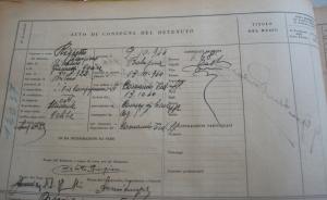 Il foglio d'entrata nel registro matricole di San Giovanni in Monte di Righetto Giampiero con i dati da lui dichiarati