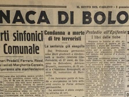 """articolo da """"Il Resto del Carlino"""" del 5 gennaio 1944."""