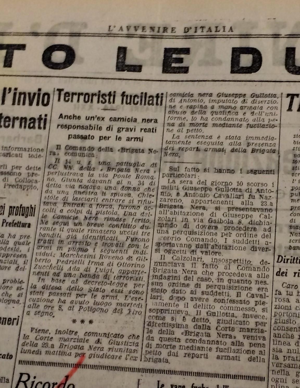 La fucilazione del 19 settembre 1944